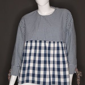 Zara | Oversized Blue and White Check Top